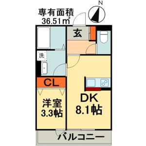 1LDK Apartment in Tsubakimori - Chiba-shi Chuo-ku Floorplan