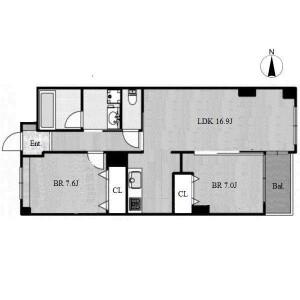 2LDK Apartment in Shumokucho - Nagoya-shi Higashi-ku Floorplan