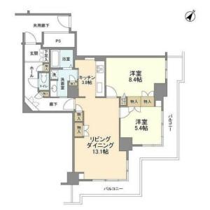 2LDK Mansion in Nihombashihamacho - Chuo-ku Floorplan