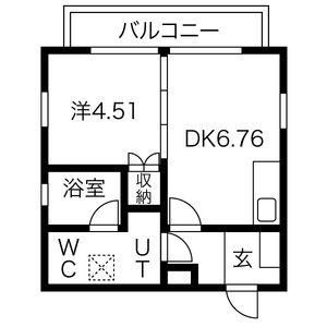 名古屋市北区 西志賀町 1LDK アパート 間取り
