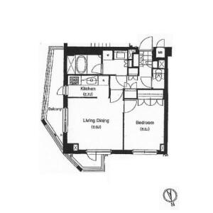 1LDK Apartment in Shirokane - Minato-ku Floorplan