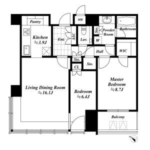2LDK Apartment in Roppongi - Minato-ku Floorplan