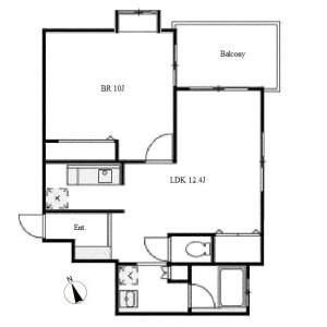 1LDK Apartment in Nishiki - Nagoya-shi Naka-ku Floorplan