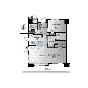 1LDK {building type} in Minamiazabu - Minato-ku Floorplan