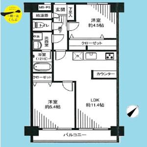 2LDK {building type} in Honcho - Kokubunji-shi Floorplan