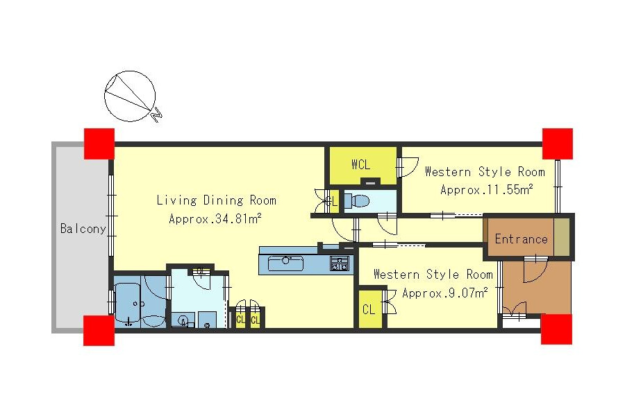 2LDK Apartment to Buy in Otsu-shi Floorplan