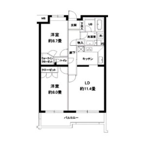 2LDK Apartment in Yoyogi - Shibuya-ku Floorplan