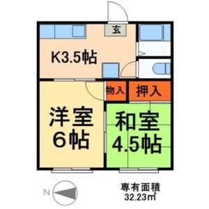 足立区 西新井 2DK アパート 間取り