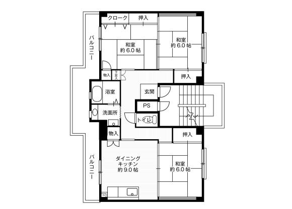 3DK Apartment to Rent in Hiratsuka-shi Floorplan