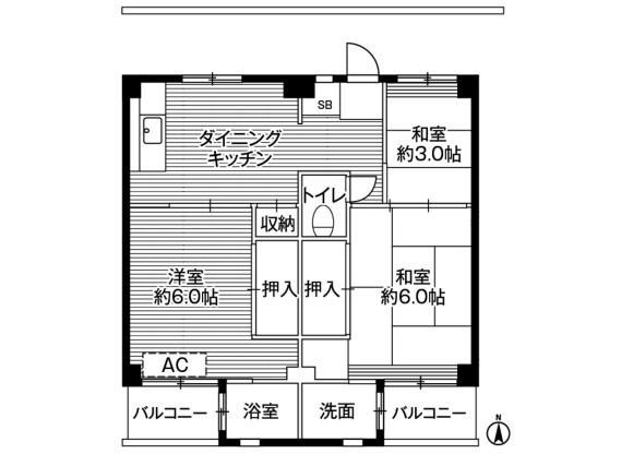3DK マンション 川崎市宮前区 間取り