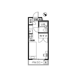 1R Mansion in Tarumachi - Yokohama-shi Kohoku-ku Floorplan