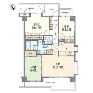3LDK {building type} in Aobadai - Meguro-ku Floorplan