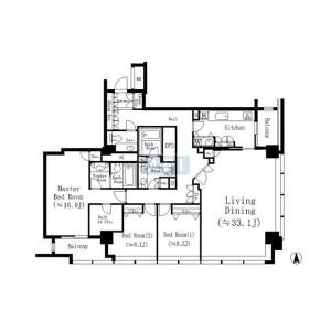 3LDK Mansion in Kioicho - Chiyoda-ku Floorplan