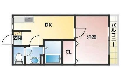 1DK Apartment to Rent in Osaka-shi Joto-ku Floorplan