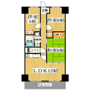 3LDK Mansion in Shiginonishi - Osaka-shi Joto-ku Floorplan