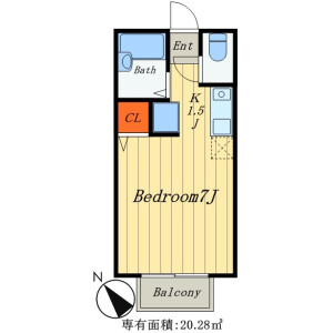 1K Apartment in Kokubun - Ichikawa-shi Floorplan