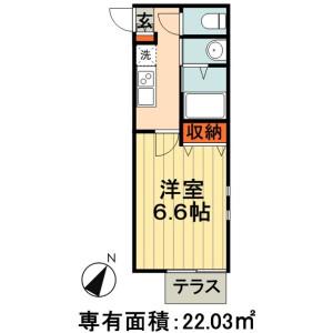1K Apartment in Dojo minami - Chiba-shi Chuo-ku Floorplan