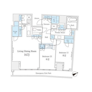 港区南青山-2LDK公寓大厦 楼层布局