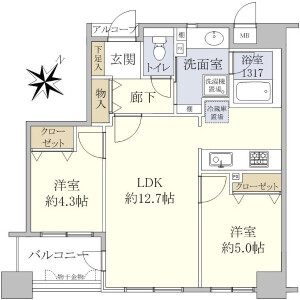 2LDK Apartment in Kachidoki - Chuo-ku Floorplan