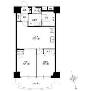 2LDK {building type} in Minamimachi - Kawasaki-shi Kawasaki-ku Floorplan