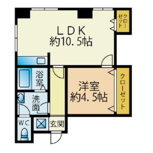 1LDK Mansion in Sakamotocho - Yokosuka-shi Floorplan