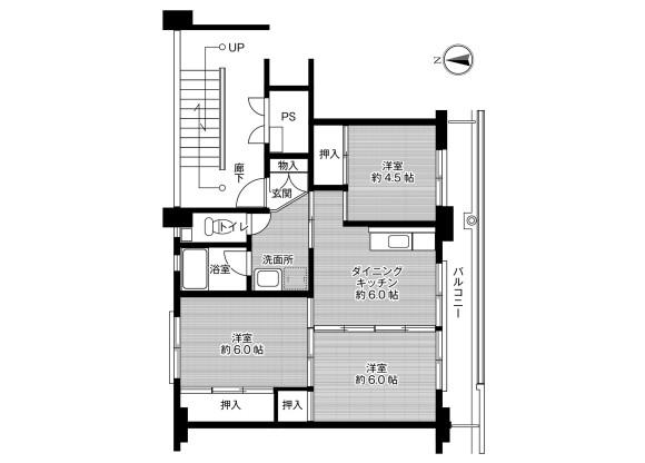 3DK Apartment to Rent in Tsuyama-shi Floorplan