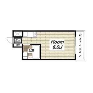 大阪市中央区高津-1R公寓大廈 房間格局