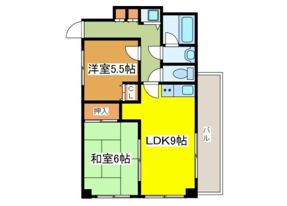 2LDK Apartment to Rent in Fuchu-shi Floorplan