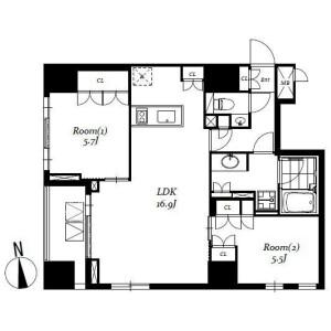 2LDK Mansion in Nihombashibakurocho - Chuo-ku Floorplan