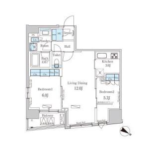 2LDK Mansion in Nihombashihoridomecho - Chuo-ku Floorplan