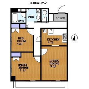 2LDK Apartment in Yoga - Setagaya-ku Floorplan