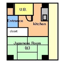 1DK Mansion in Katsuyama - Osaka-shi Tennoji-ku Floorplan