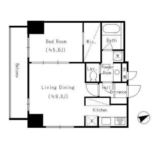 1LDK Apartment in Takanawa - Minato-ku Floorplan