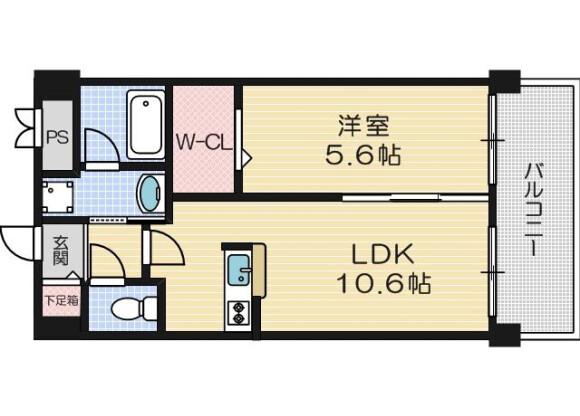 在茨木市内租赁1LDK 公寓大厦 的 楼层布局