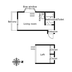 1R Apartment in Daizawa - Setagaya-ku Floorplan