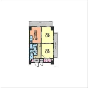 2DK Mansion in Kamimaruko sannocho - Kawasaki-shi Nakahara-ku Floorplan