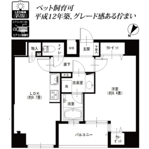 1LDK {building type} in Meguro - Meguro-ku Floorplan