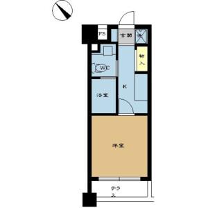 港区赤坂-1K公寓大厦 楼层布局
