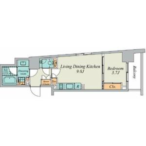 1LDK Mansion in Hiroo - Shibuya-ku Floorplan