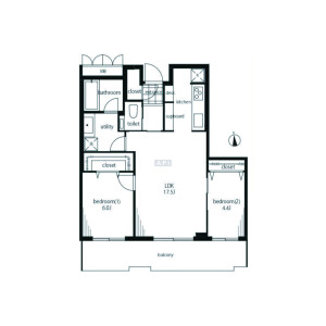 2LDK {building type} in Kamiosaki - Shinagawa-ku Floorplan