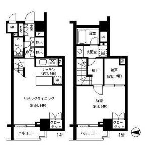 1LDK Mansion in Kandasudacho - Chiyoda-ku Floorplan