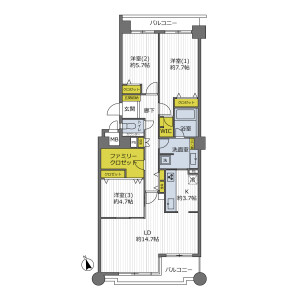 3LDK {building type} in Toneyama - Toyonaka-shi Floorplan