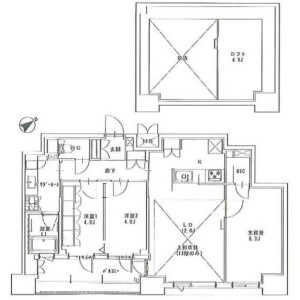 3LDK Apartment in Shintomi - Chuo-ku Floorplan