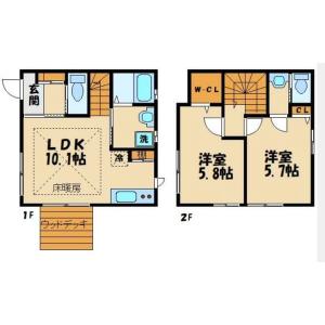 2LDK Terrace house in Iwado kita - Komae-shi Floorplan
