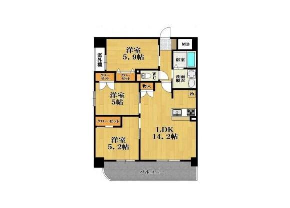 3LDK Apartment to Rent in Matsubara-shi Floorplan