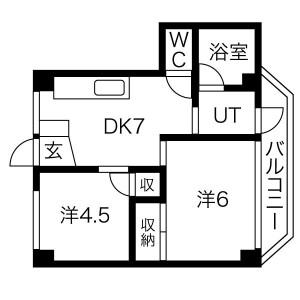 2DK Mansion in Abenosuji - Osaka-shi Abeno-ku Floorplan