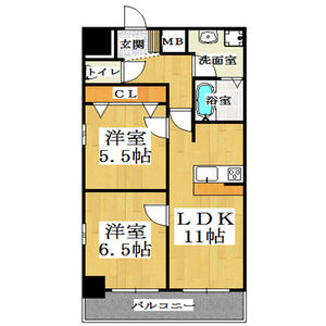 大阪市中央区 島之内 2LDK マンション 間取り