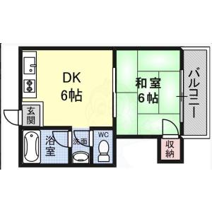 1DK Apartment in Kuwazu - Osaka-shi Higashisumiyoshi-ku Floorplan