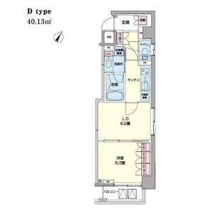 1LDK Mansion in Nihombashihamacho - Chuo-ku Floorplan