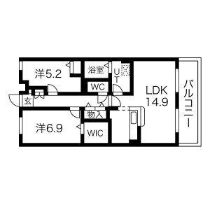 2LDK Mansion in Amazukacho - Nagoya-shi Nishi-ku Floorplan